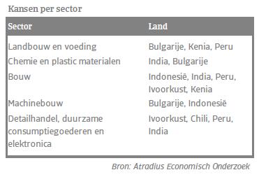 Kansen per sector - Top 7 opkomende markten
